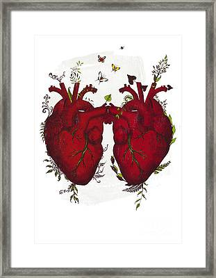 Two Hearts Beating As One Framed Print by Sybille Sterk