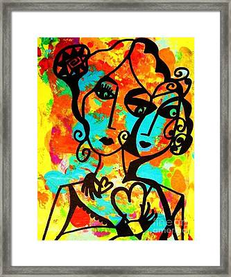 Two Hearts Turquoise Framed Print by Sandra Silberzweig