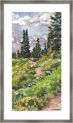 Two Hikers Framed Print by Anne Gifford