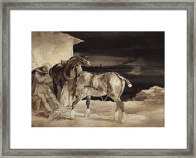 Two Horses And A Sleeping Groom  Framed Print by Theodore Gericault
