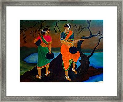 Two Indian Ladies On The River-side Framed Print
