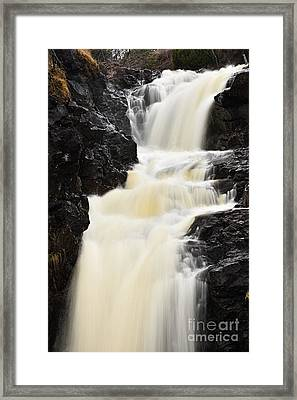 Framed Print featuring the photograph Two Island River Waterfall by Larry Ricker