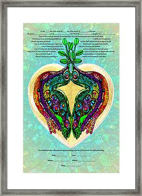 Two Jewel Doves Ketubah Framed Print by Michele Avanti
