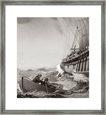 Two King's Messengers Attempt To Row Into The Harbor At Calais  Framed Print