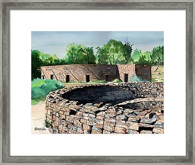 Two Kivas Aztec Ruins Framed Print by Timithy L Gordon