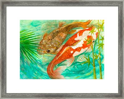 Two Koi Ephemeral Framed Print by Lynn Maverick Denzer