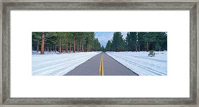 Two Lane Road In Snow With Evergreen Framed Print