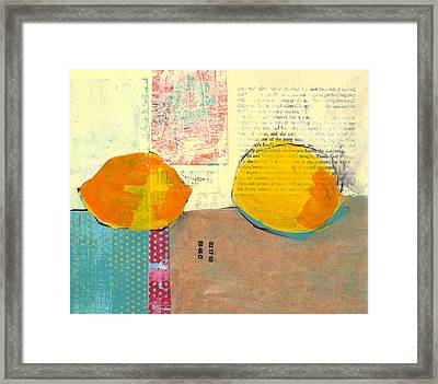Two Lemons Framed Print by Laurie Breen