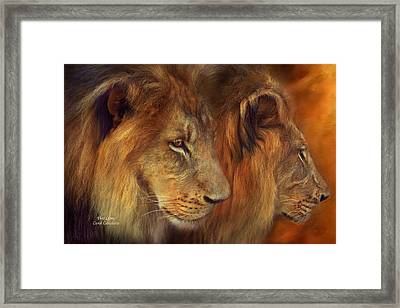 Two Lions Framed Print by Carol Cavalaris