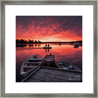 Two Lobstermen At Sunrise Framed Print by Benjamin Williamson