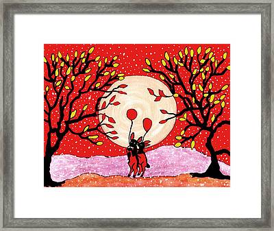 Two Love Bunnys Framed Print by Connie Valasco