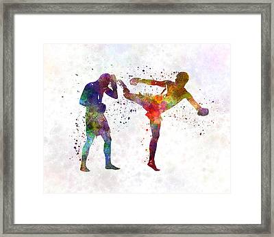 Two Men Exercising Thai Boxing Silhouette 01 Framed Print by Pablo Romero