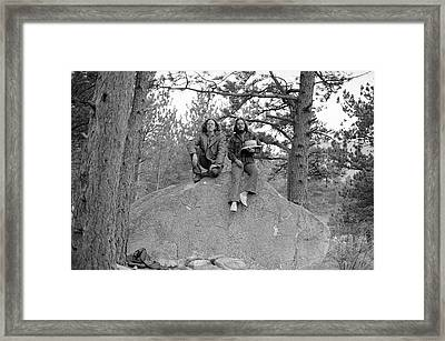 Two Men On A Boulder In The American West, 1972 Framed Print