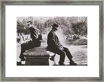 Two Men Sitting Back To Back Near Washington Square Park Fountain Framed Print