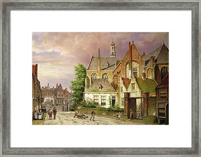 Two Men With A Cart Framed Print
