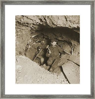 Two Miners Taking Out Ore In Tunnel Framed Print