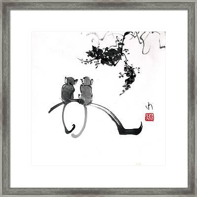 Two Monkeys Framed Print
