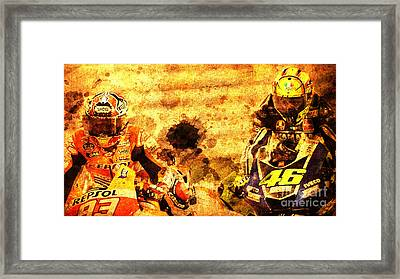 Two Motorcycles In Race Hard Fight Framed Print by Pablo Franchi