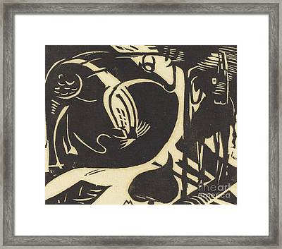 Two Mythical Animals Framed Print by Franz Marc