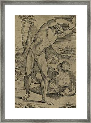 Two Nude Men  One Standing, One Reclining Framed Print