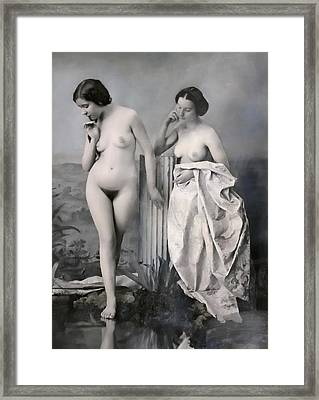 Two Nude Victorian Women At The Baths C. 1851 Framed Print by Daniel Hagerman