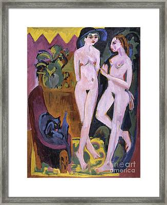 Two Nudes In A Room, 1914 Framed Print by Ernst Ludwig Kirchner