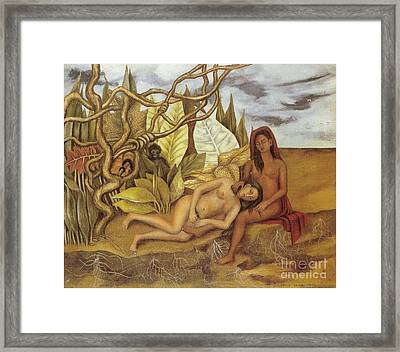 Two Nudes In The Forest Framed Print