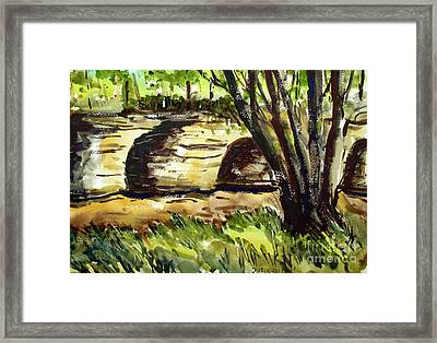 Two Of The Seven Pillars Submerged Matted Glassed Framed Framed Print by Charlie Spear