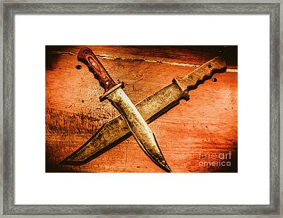 Two Old Knives Crossed On Table Framed Print by Jorgo Photography - Wall Art Gallery