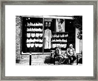 Two Old Men And Lingerie Framed Print