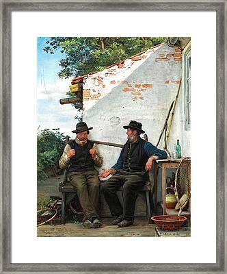 Two Old Men Sitting In The Shadow. Hornbaek Framed Print by Carl Heinrich Bloch