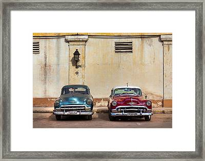 Framed Print featuring the photograph Two Old Vintage Chevys Havana Cuba by Charles Harden