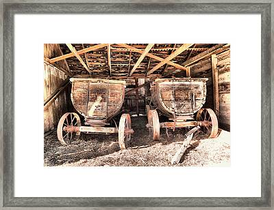 Framed Print featuring the photograph Two Old Wagons by Jeff Swan