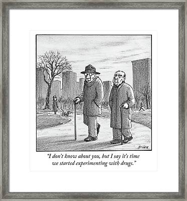 Two Older Men Walk With Canes Through A Park. Framed Print