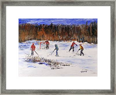 Two On Two On The Frozen Pond Framed Print