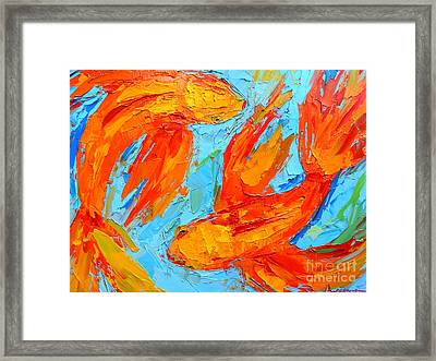 Two Orange Koi Fish - Modern Impressionist Palette Knife - Yin Yang - Piscis Framed Print by Patricia Awapara