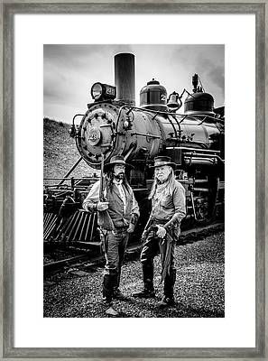 Two Outlaws And Steam Train Framed Print by Garry Gay