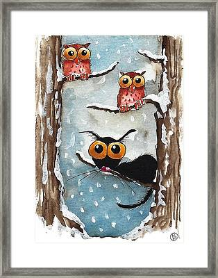 Two Owls And A Cat Framed Print