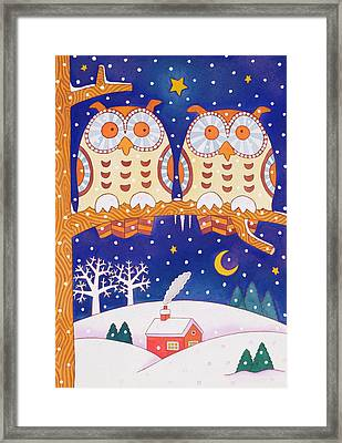Two Owls On A Branch Framed Print by Cathy Baxter