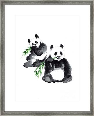 Two Pandas Watercolor Painting Framed Print