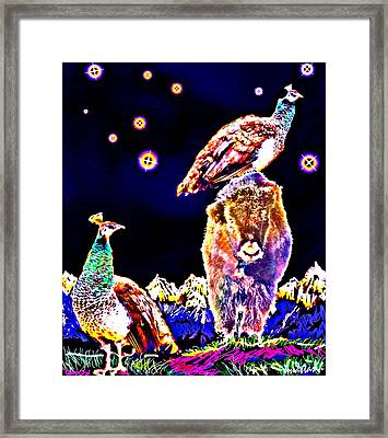 Two Peacocks And A Yak Framed Print by Anastasia Savage Ealy