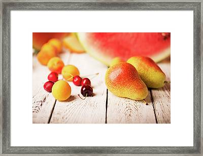 Two Pears And Other Fruits Framed Print by Vadim Goodwill