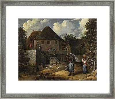 Two Peasants By A Water Mill Framed Print