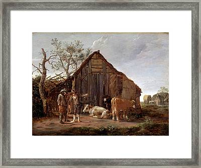 Two Peasants With Cows Framed Print by Govert Dircksz Camphuysen
