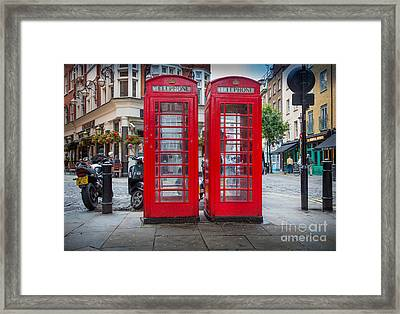 Two Phone Booths In London Framed Print by Inge Johnsson