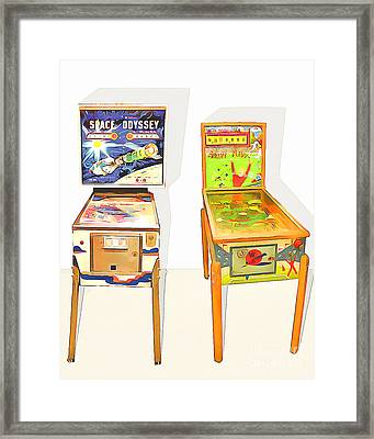 Two Pinball Machines 20160226 Framed Print