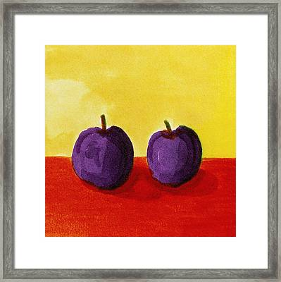 Two Plums Framed Print by Michelle Calkins