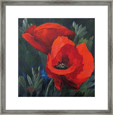 Two Poppies  Framed Print by Torrie Smiley