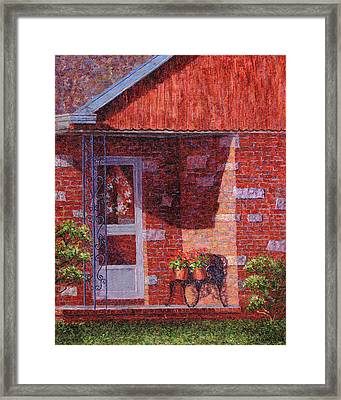 Two Pots Of Geraniums Framed Print by Susan Savad