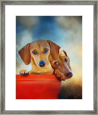 Two Pups In A Bucket 4926 - No Texture Framed Print